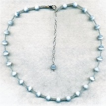 Light Blue Cat Eye Glass Bead Necklace - $15.85