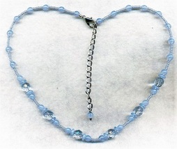 Light Blue Opal Glass Beaded Necklace - $3.37