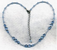 Light Blue Opal Glass Hearts Beaded Necklace - $3.37