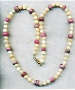 Mother Of Pearl Rhodonite Gemstone Necklace - $3.50