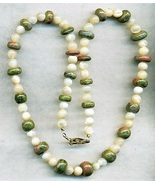 Mother Of Pearl Unakite Gemstone Necklace - $6.69
