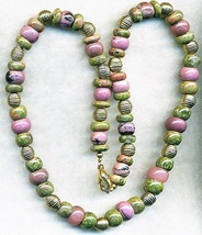Rhodonite Unakite Gemstone Necklace - $6.69