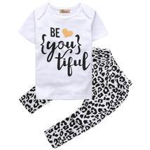 kid girls short sleeve t shirt + pants clothes - $10.98+