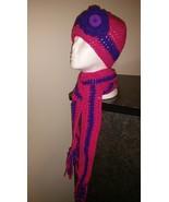 Kids Pink & Purple Handmade Crochet Hat & Scarf... - $30.00