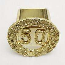 6 Gold 50th Anniversary Elegant Reusable Square Plastic Napkin Rings - $13.85