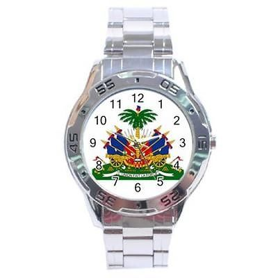 Haiti Coat of Arms Stainless Steel Analogue Watch Haitian