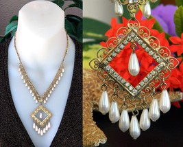 Vintage Rhinestones Pearls Teardrop Filigree Dangling Pendant Necklace - $31.95