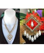 Vintage rhinestones pearls teardrop filigree dangling pendant necklace thumbtall