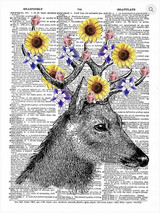Art N Wordz Floral Deer Antlers Original Dictio... - $21.00