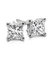 1.00CT Princess Cut Genuine H/SI2 Diamonds 14K Solid White Gold Stud Ear... - $1,081.80