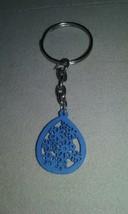 Handmade Blue Teardrop Flower Design Wood Charm... - $4.99