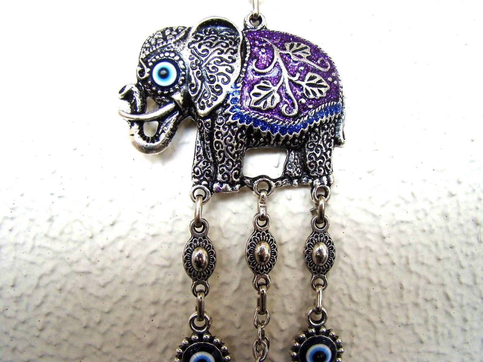 Wall Hanging Amulet Turkish Silver Plated Purp Color  Elephant  & Evileye 25 cm