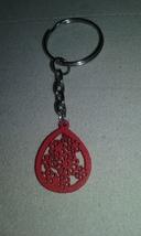 Handmade Red Teardrop Flower Design Wood Charm ... - $4.99
