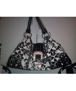 Or Large Black And White Faux Seude Ladies Handbag with Buckle Front $48.95 - $48.46