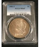1881-S PCGS MS65  Graded Morgan Silver Dollar  Toning  Toned - $177.21