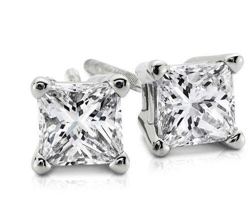 1.50CT Princess Cut Genuine F/I2 Diamonds 14K Solid White Gold Stud Earrings
