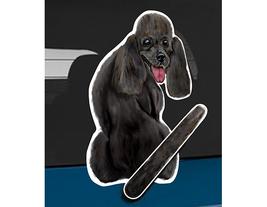 Poodle B black dog rear window wiper wagging tail sticker - $12.99