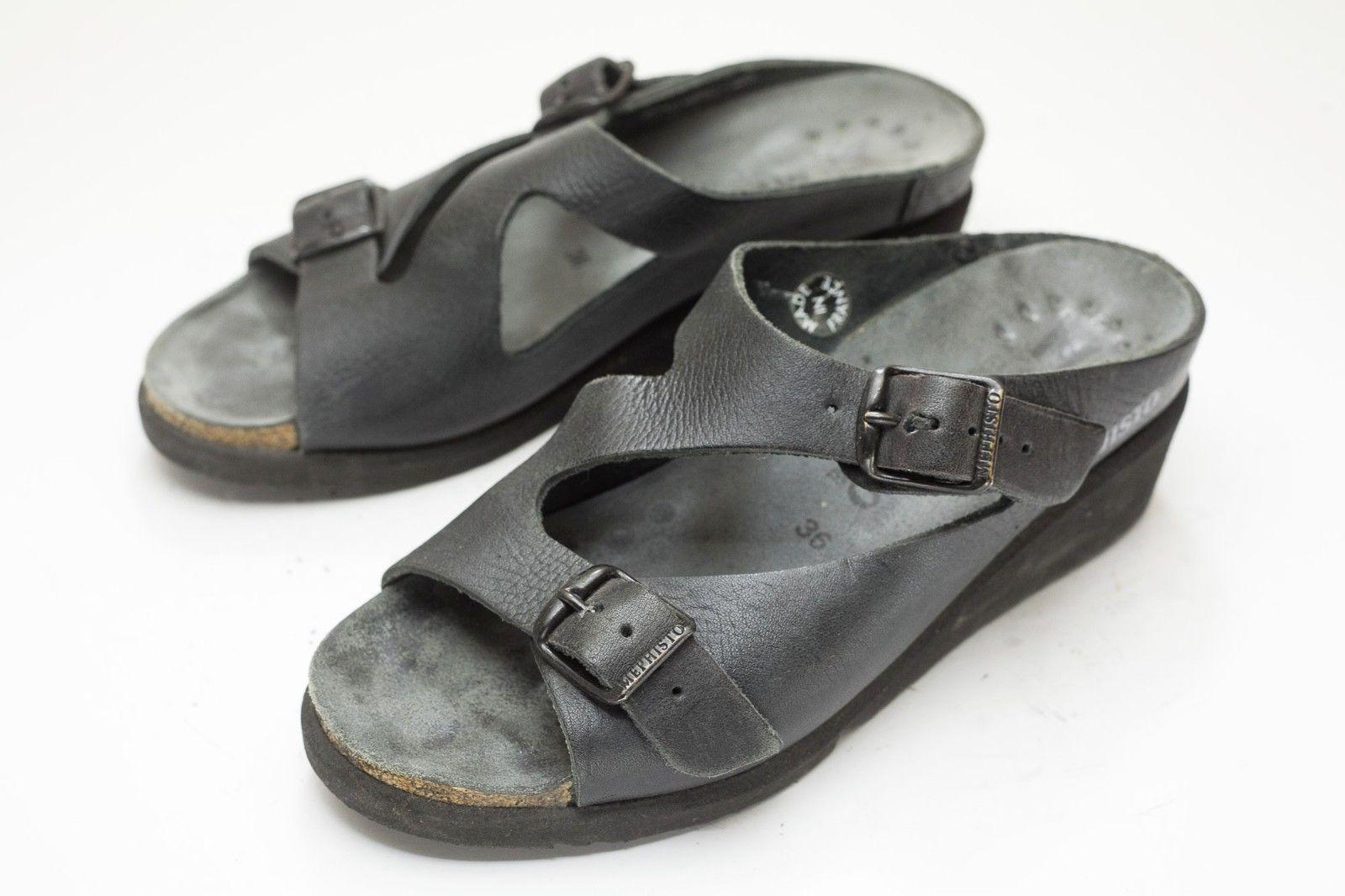 Mephisto 6 Dark Gray / Black Sandals Women's EU 36
