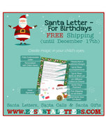 Santa Letter - Letter From Santa For Child with Christmas Birthday - $8.99