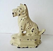 Vintage Cast Iron Scottie Dog Off White Small D... - $37.36
