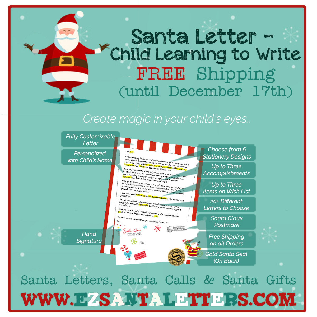 Santa Letter - Letter From Santa for a Child Away at Christmas