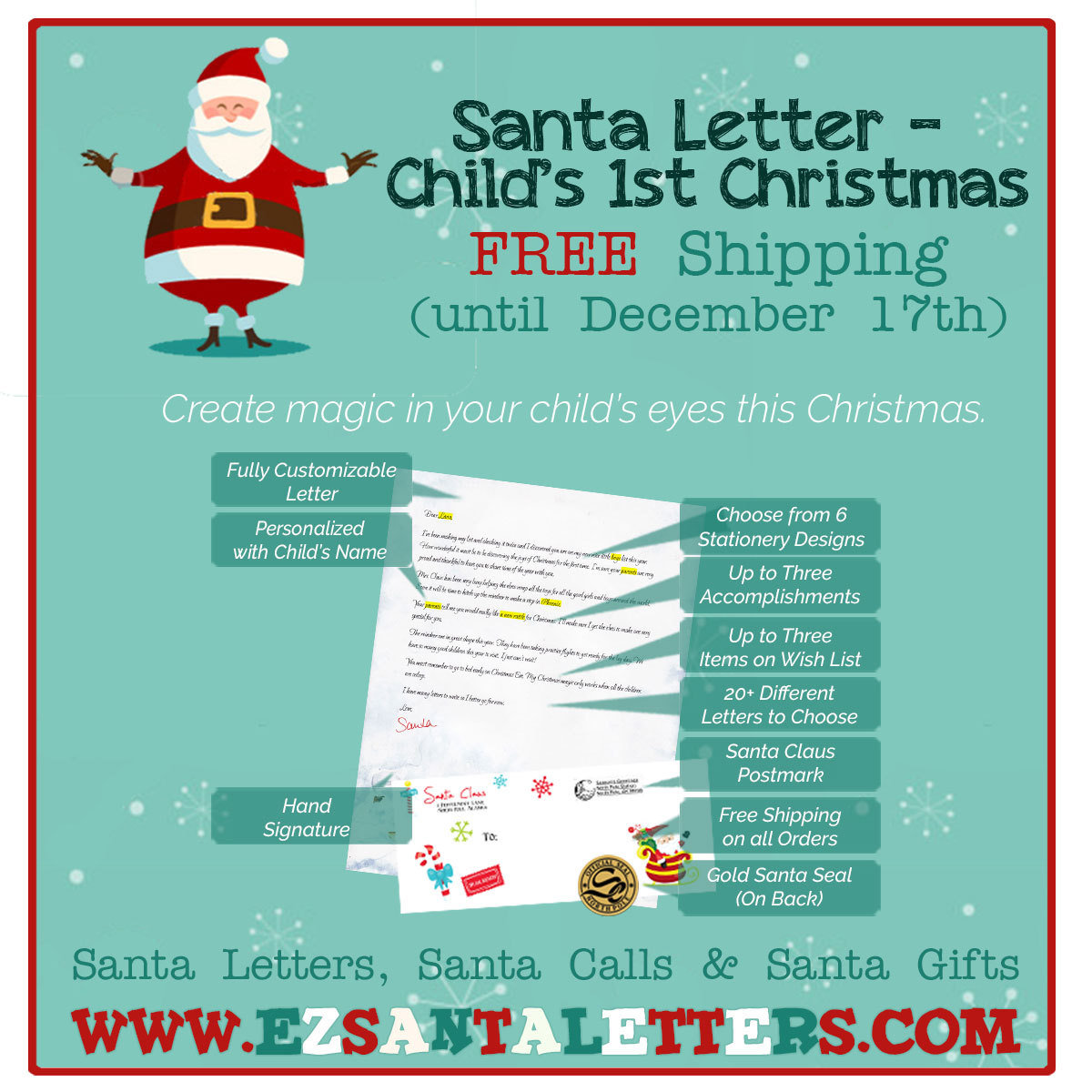 Santa Letter - Child's 1st Christmas - Letter from Santa