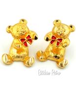 Vintage Avon Christmas Teddy Bear Earrings With Fun Split Body Feature  ... - $10.00