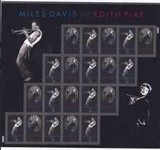 MILES DAVIS / EDITH PIAF - (USPS) MINT SHEET 20 FOREVER STAMPS 2012 - $15.95