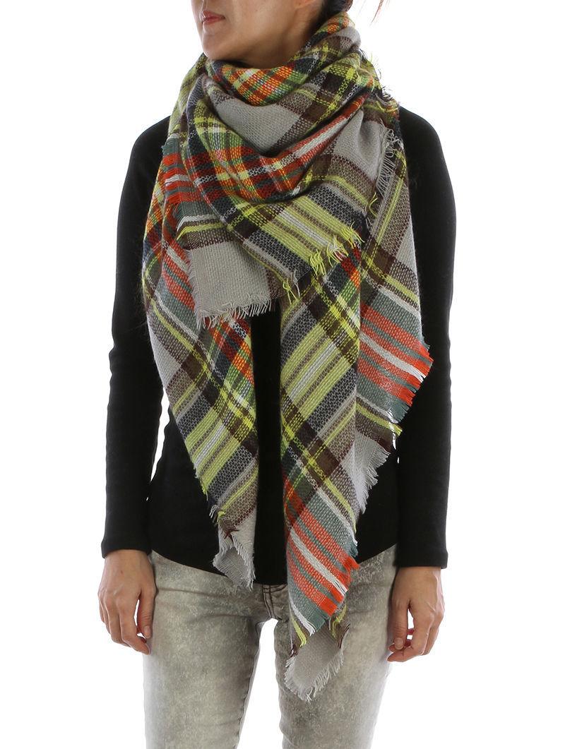 Gorgeous Soft Plaid Blanket Fashion Scarf Checkered Wrap Shawl Gray Yellow Multi