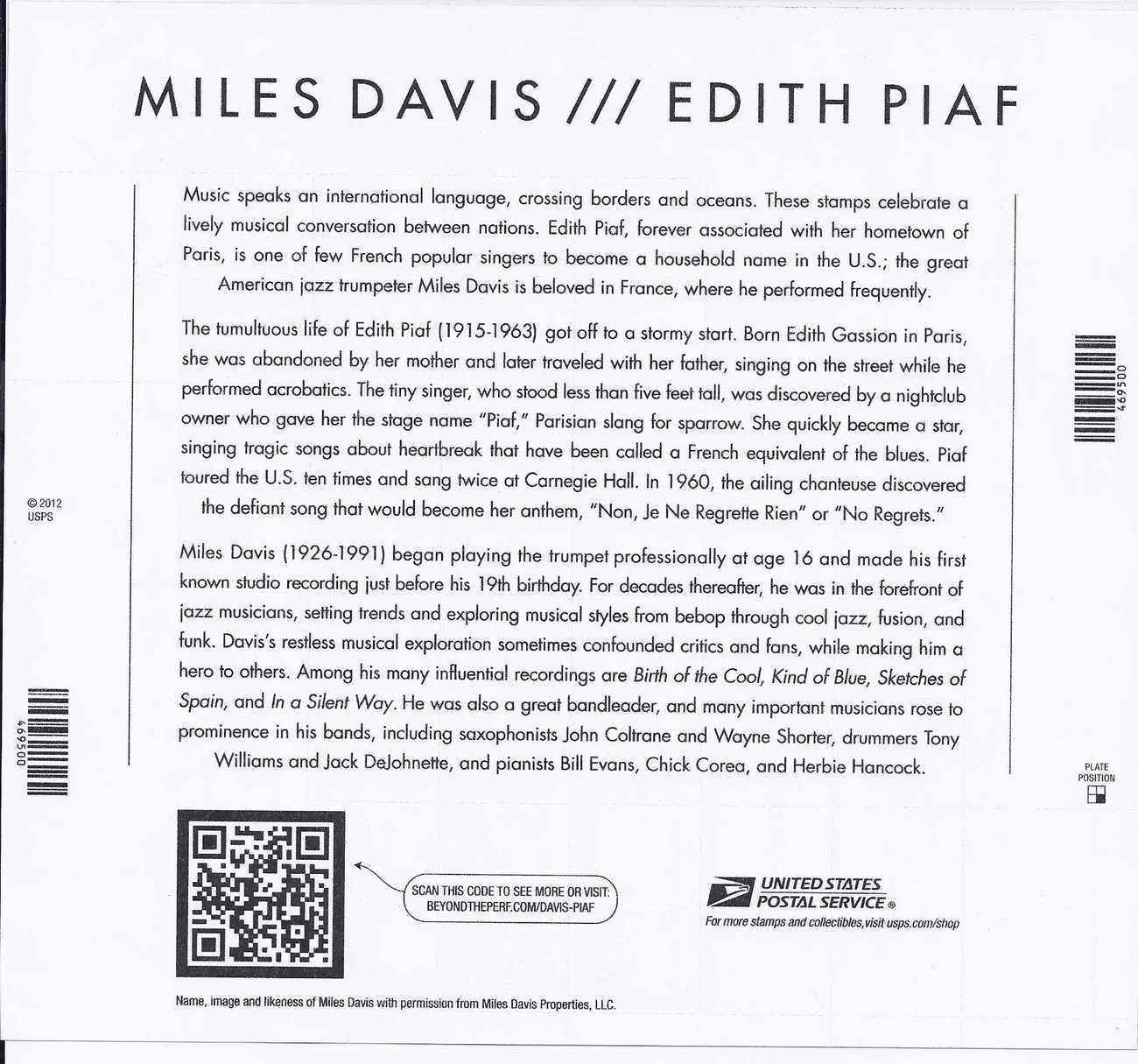 MILES DAVIS / EDITH PIAF - (USPS) MINT SHEET 20 FOREVER STAMPS 2012