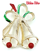Gerry's Christmas Bells Brooch, Vintage Holiday Pin - $9.00