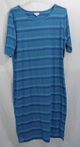 LuLaRoe Women's Plus Julia Dress in Bright Heathered Turquoise Blue 2XL  - $26.13