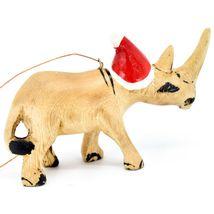 Hand Carved & Painted Jacaranda Wood Santa Hat Rhinoceros Christmas Ornament image 4