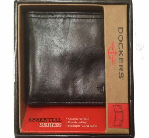 Primary image for Trifold Black Leather Wallet by Dockers