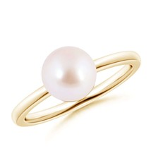 June Birthstone 8mm Cultured Akoya Pearl Ring 14k Gold/Silver Size 3-13 - $254.90+