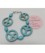 "Bracelet - 7-3/4"" - Peace Symbol Sign Gemstone & Czech Glass Beaded - BR... - $3.00"