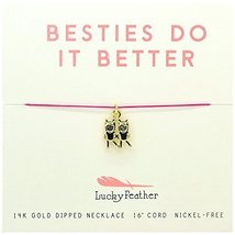 Lucky Feather Best Friends Emoji Charm Pendant Necklace, 14k Gold Dipped... - $14.16