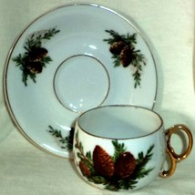 Trimont Cup & Saucer Purple Pine Cones & Branch on White Gold Trim Made ... - $14.24