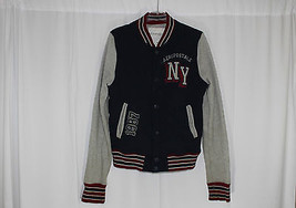 Aeropostale Men's Small Navy Gray Red Quilted Jacket Snap Front Cotton B... - $10.00