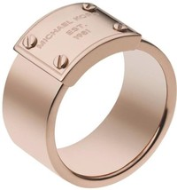 Michael Kors Rose Gold-Tone Logo Plate Ring MKJ2659 Size 7 BNWT & Jewelry Pouch - $49.75