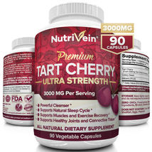 Tart Cherry Capsules 3000mg 90 Vegan Pills Support Healthy Joints Sleep Cleanser - $29.99