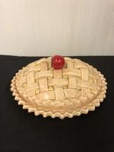 "Vintage Ceramic DECORATIVE LIDDED Apple Pie Plate hand painted 10"" - $28.04"