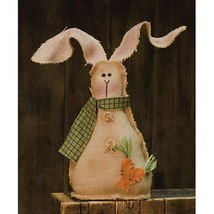 Country BURLAP BUNNY w/ BUTTONS DOLL Primitive Spring Easter Farmhouse R... - $40.99