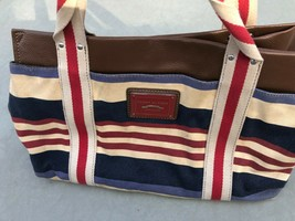 Tommy Hilfiger red white blue Canvas striped tote bag - $19.79