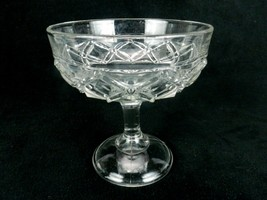 "Vintage Glass Compote, Pedestal Serving Bowl, 7"" x 7"", Pattern Ring of D... - $19.55"
