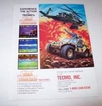 1988 TECMO SILK WORM VIDEO ARCADE GAME ADVERTISING NOT A FLYER - $8.90