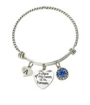 Custom A Piece of My Heart is in Heaven Initial Charms Silver Wire Cuff Bracelet - $14.72+