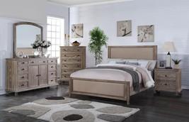 MYCO Furniture  LS5585-K La Salle Rustic Aged Oak Fabric King Bedroom Set 6Pcs