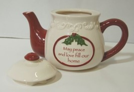 Bella Casa by Ganz Christmas Teapot mug Set White Dark Red image 2