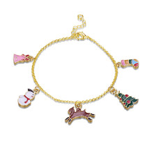 Fashion Women European Crystal Beads Charm Bracelet Christmas Santa Tree Xmas - $11.75